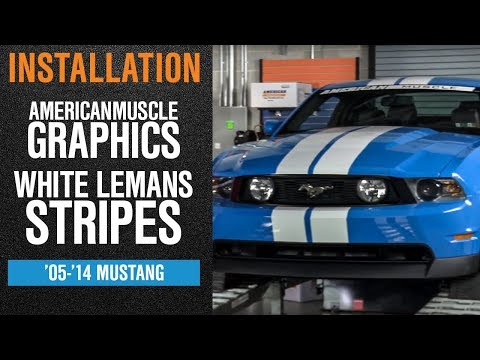 Install 2005-2014 Mustang American Muscle Graphics White Lemans Stripes - 8
