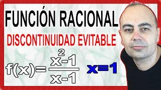 Discontinuidad evitable en una función racional.