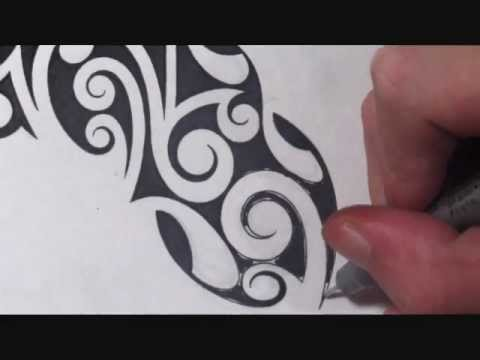 drawing curly tribal cross tattoo