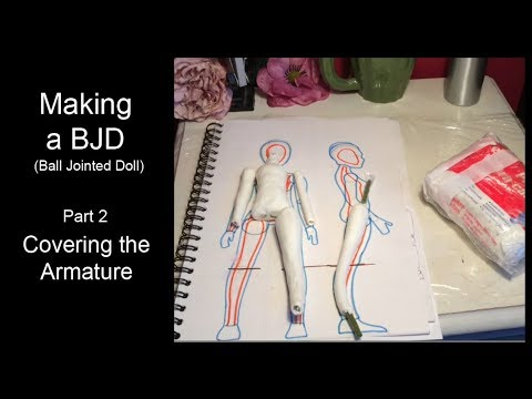 Making a BJD Part 2 - Covering the Armature with air dry clay