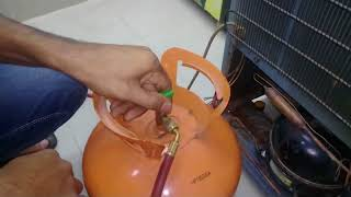 How to gas cherge in Fridge only compund gause.সিঙ্গেল কম্পাউন্ড গেজ দিয়ে গ্যাস চার্জ করুন ।