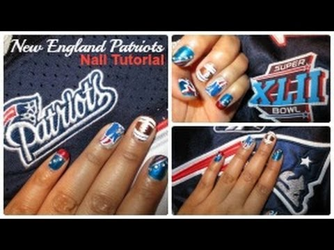 New England Patriots ♡ Nail Tutorial - (NFL Collab) - YouTube