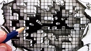 How to Draw an Optical Illusion: Falling Cubes on Square Grid Paper