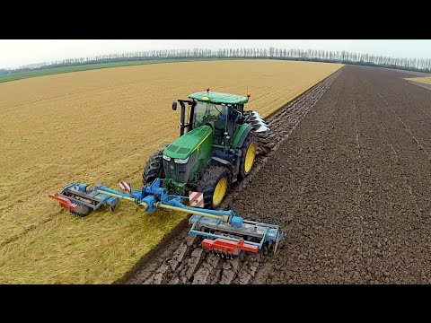 Ploughing & Power Harrowing in one pass with a John Deere 72