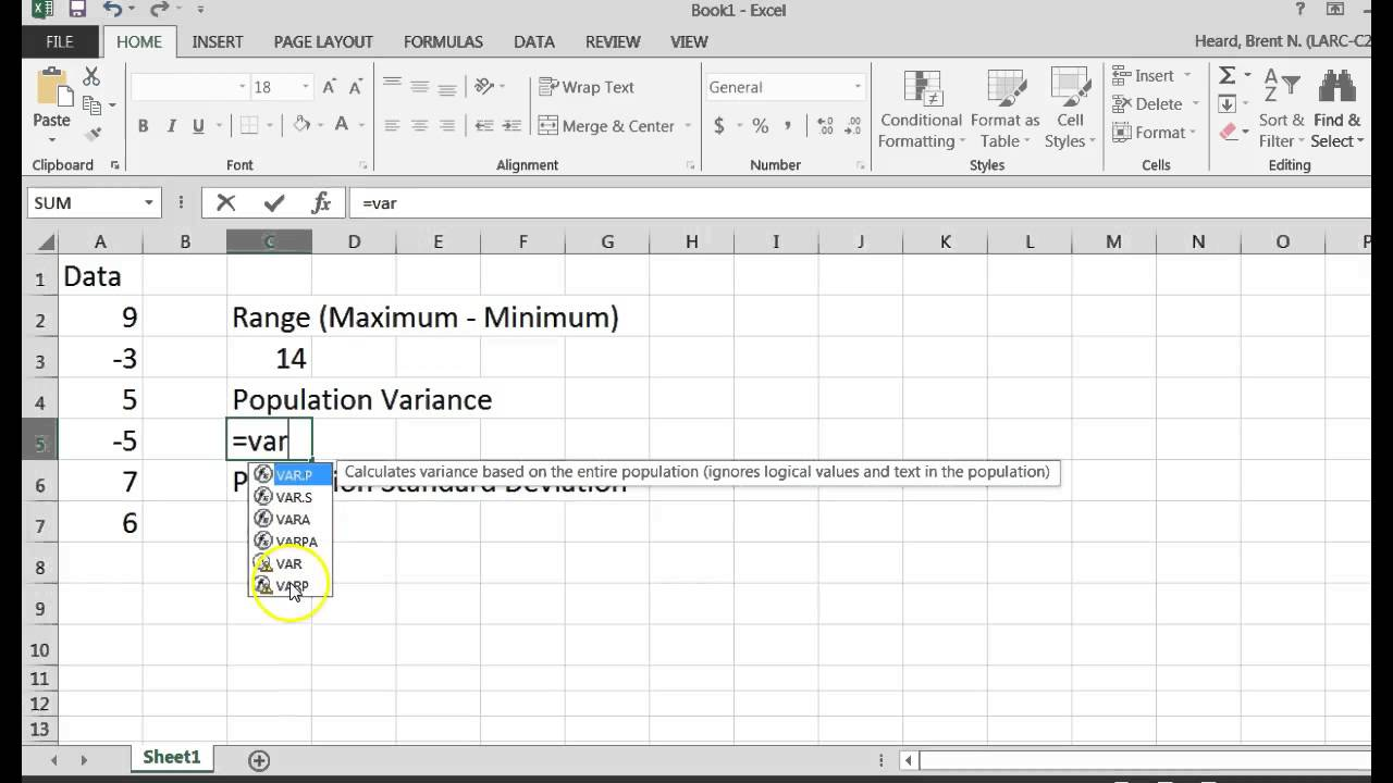 Getting the Population Variance and Population Standard Deviation – Variance and Standard Deviation Worksheet