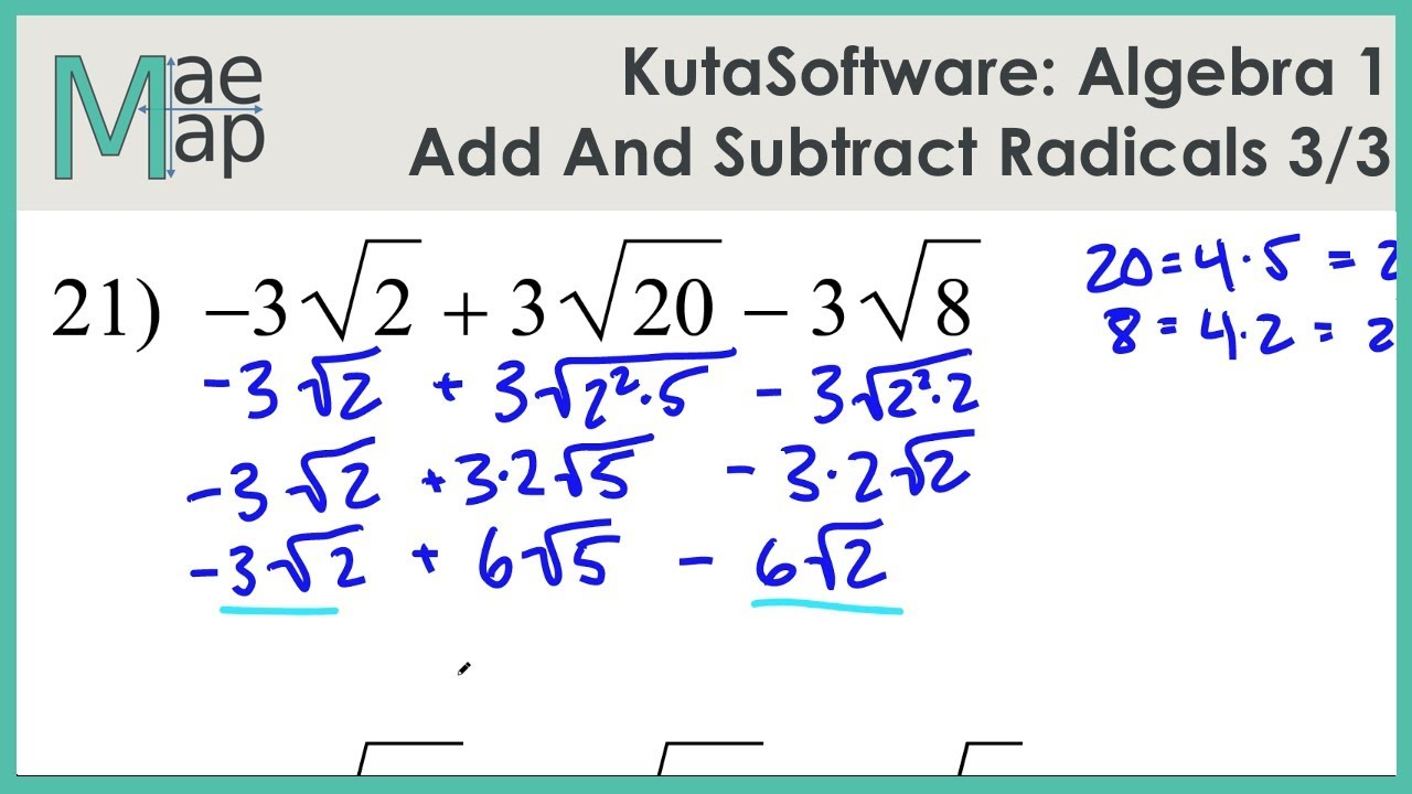 Exponents and Radicals Worksheets   Exponents   Radicals Worksheets also Estimating Sums And Differences Worksheets Grade Adding Subtracting further Adding and Subtracting Radicals Joke Worksheet by Plant Problems likewise Adding Subtracting Radicals Calculator Math Kindergarten Ex le 3 moreover  moreover  together with Kuta  Algebra 1  Adding And Subtracting Radicals Part 3 further addition and subtraction with variables worksheets – lacuponera moreover  also Adding Subtracting Radical Expressions   Kuta Infinite further  likewise  additionally Simplifying Radicals Worksheet No Variables Excel Radical as well 7 1R Simplifying Radicals 020316 as well Add and Subtract Radicals   YouTube as well . on adding and subtracting radicals worksheet