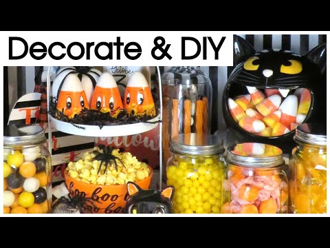 HALLOWEEN HUTCH DECORATE WITH ME & TOUR | DOLLAR TREE HAUL & DIY