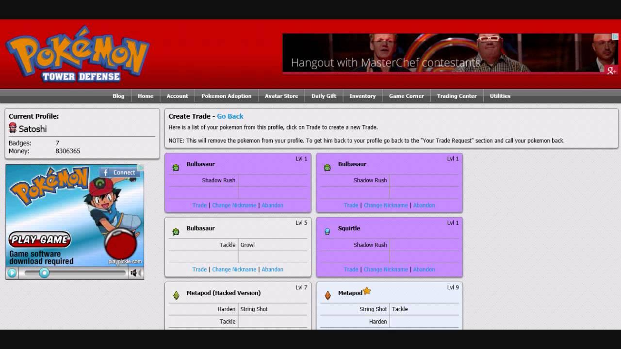 Pokemon center ptd 2 trading center - Pokemon Tower Defense How To Prevent Account Deletion