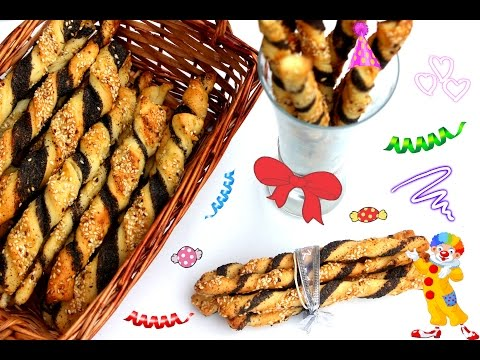 Šareni štapići - Uvrnute grisine - Brzo koktel pecivo - Twisted Breadsticks