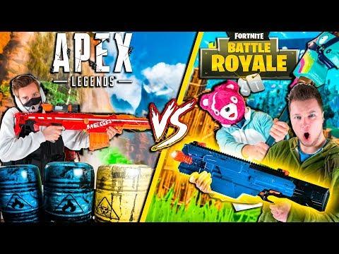 FORTNITE In Real Life Vs APEX Legends - Nerf War Challenge (Papa Jake)