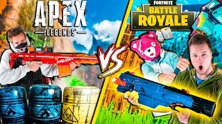FORTNITE In Real Life Vs APEX Legends - Nerf War Challenge (Papa Jake)