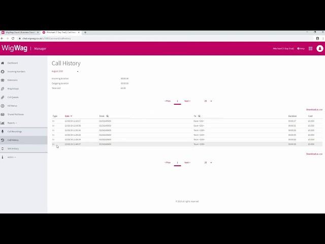WigWag Cloud | Phone Call Recording