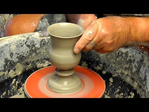 Throwing / Making Ceramic Pottery Goblets on the Wheel