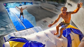 BUILT 2 Story 100FT WaterSlide in BACKYARD WATERPARK! *crazy flips*