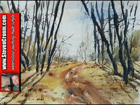 Watercolour painting of Sutton Park using a photograph as reference