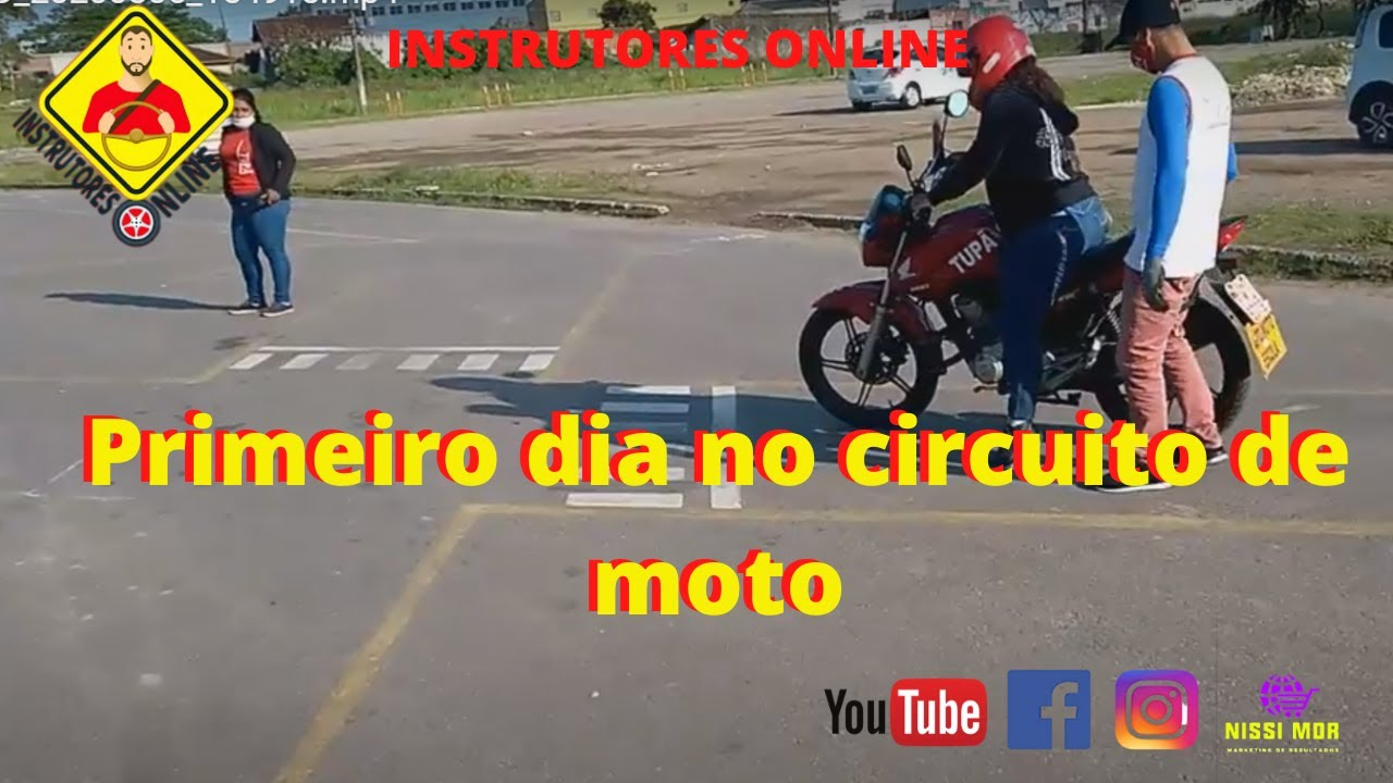 Aula de moto para Iniciante: Primeiro dia no circuito de exame.