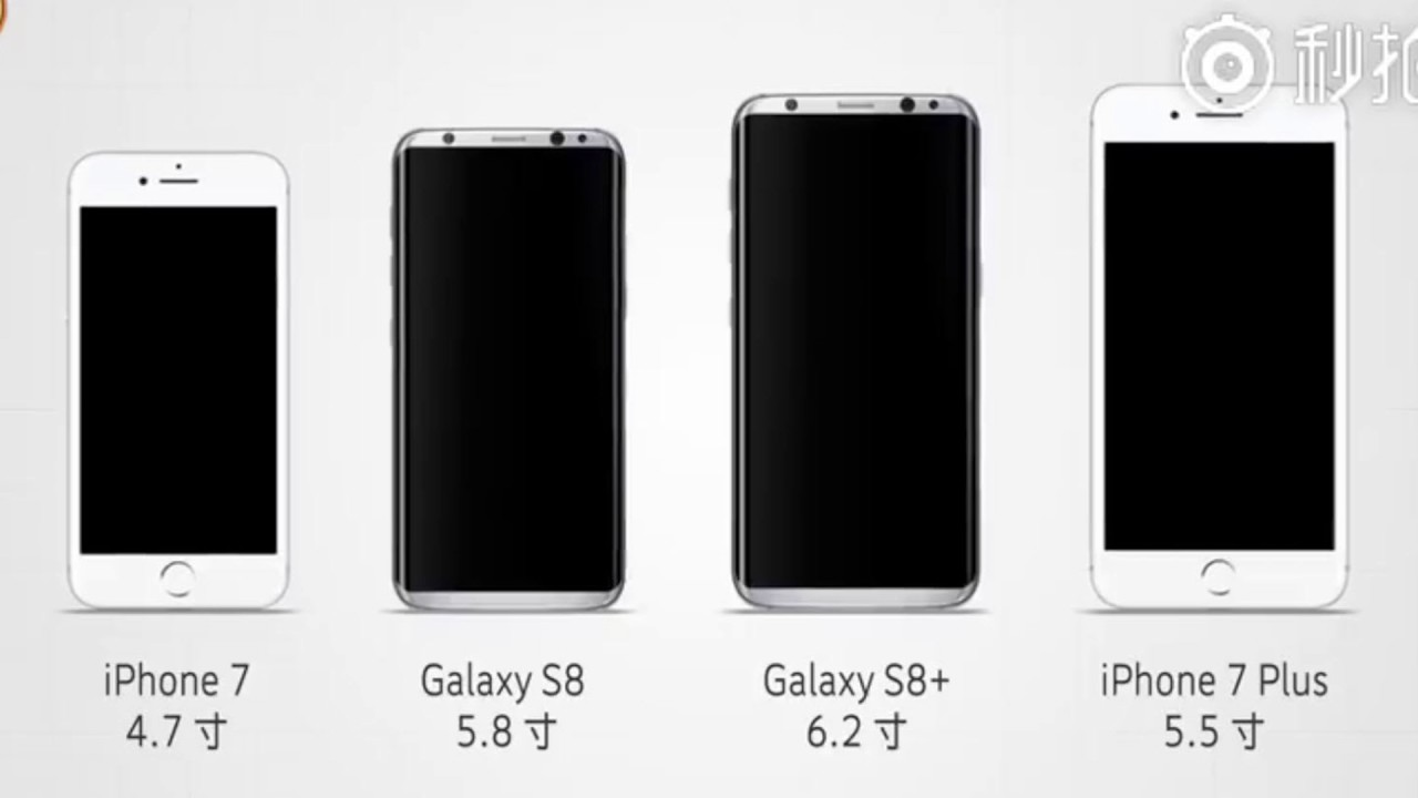 Galaxy S8 Plus vs iPhone 7 Plus vs S8 vs 7-Screen Size Comparison ...