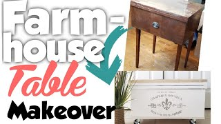 DIY farmhouse table makeover | Furniture flip | Farmhouse repurposed table