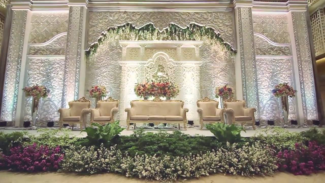 White pearl decoration thamrin nine ballroom youtube wedding decoration jakarta junglespirit Gallery