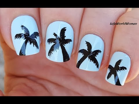 SUMMER NAILS: Easy Light Blue PALM TREE NAIL ART