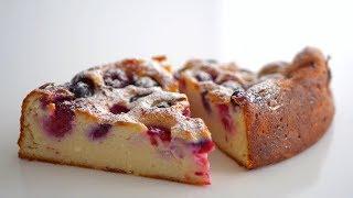 Необычный творожный заварной пирог с ягодами