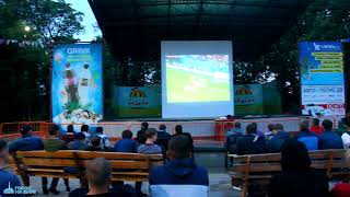 Футбольные болельщики в парке Биробиджана