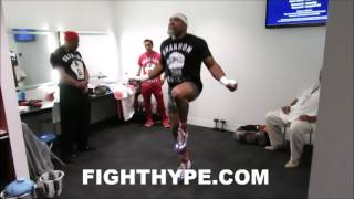 SHANNON BRIGGS WARMING UP IN DRESSING ROOM PRIOR TO UK DEBUT (BEHIND-THE-SCENES LOOK)