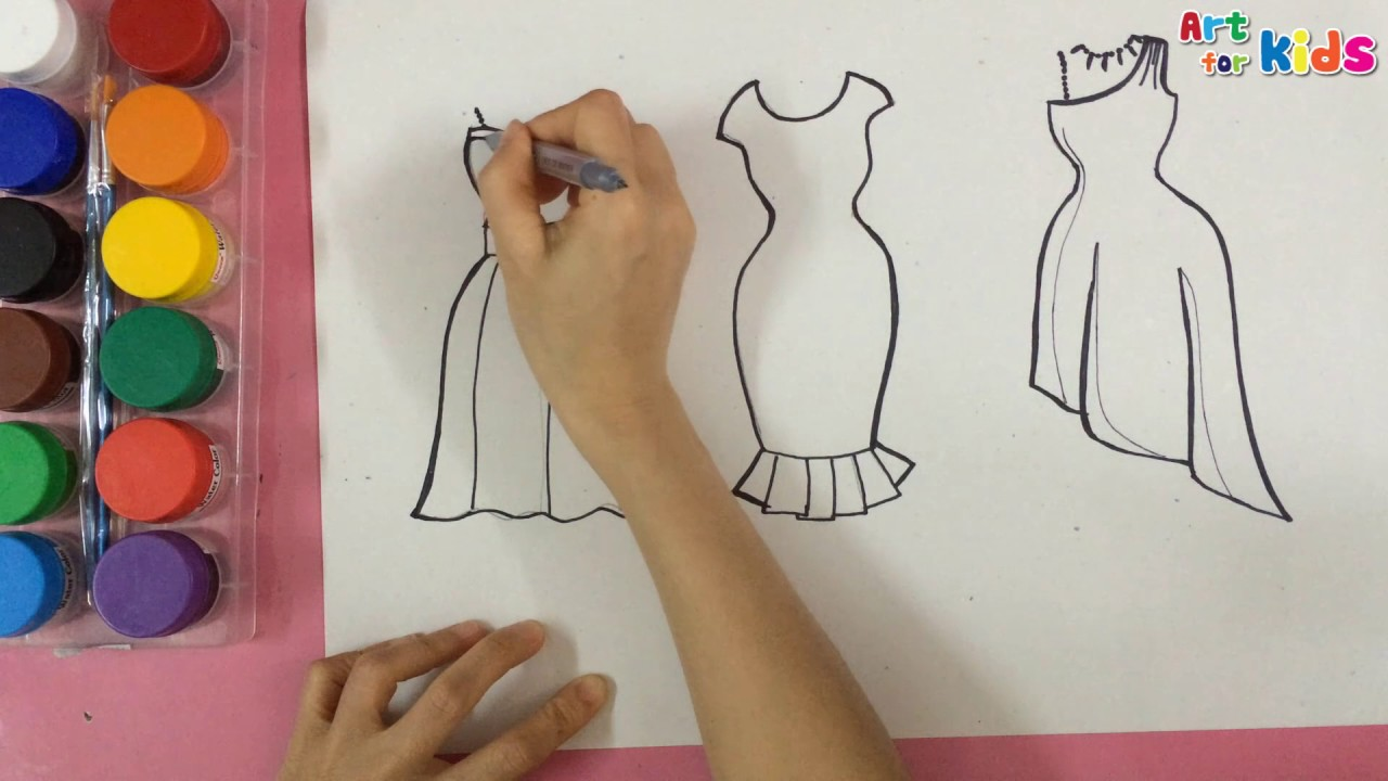 How To Draw Fashion Clothes For Kids How To Draw Dresses For Kids 12 Art For Kids Youtube