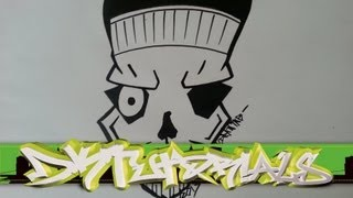 How to draw a graffiti skull with a cap step by step