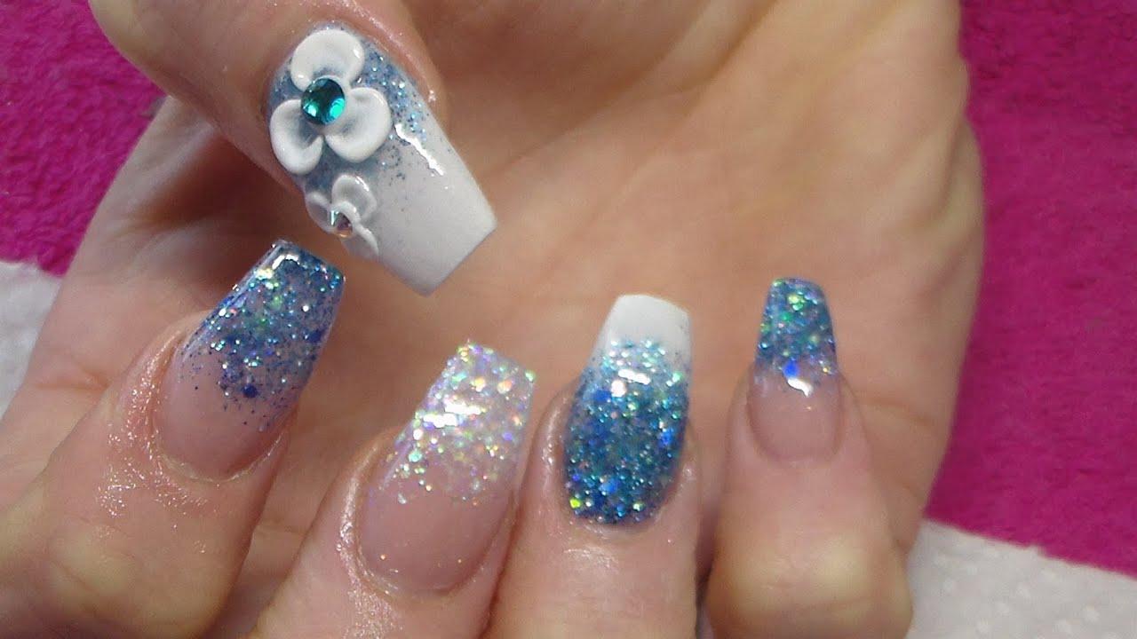 Acrylic Nails   Frozen Inspired - YouTube