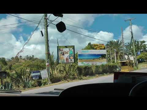 driver view Viking narrated bus ride on Antigua from Nelson's Dockyard to St. John's (1 of 2)