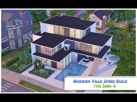 The sims 4 speed build 39 modern villa 39 by yavie jenkins for Simple modern house sims 4