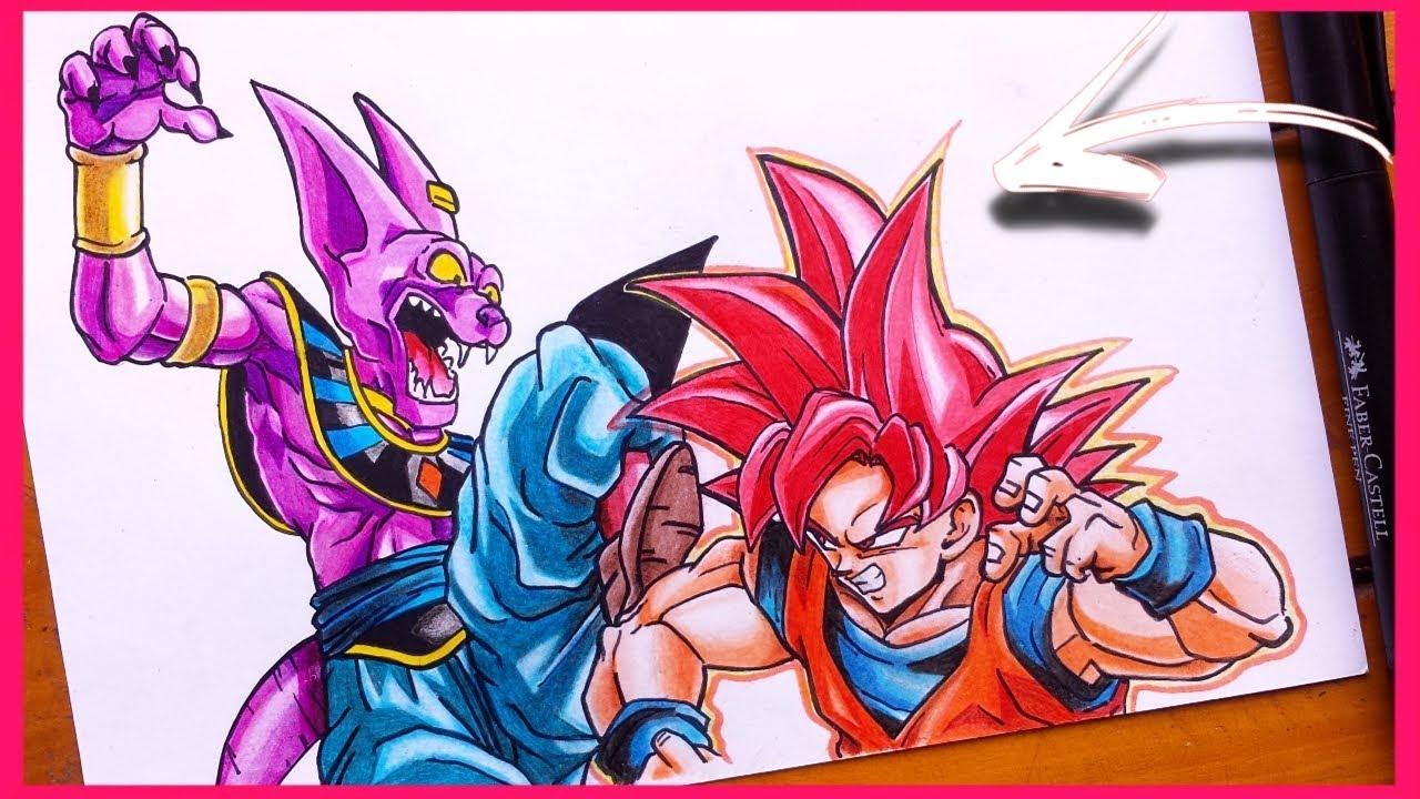 Como Desenhar O Goku Ssj Deus Vs Bills Youtube