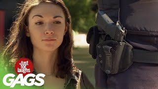 Stealing Cops Gun Gone Wrong! - Just For Laughs Gags