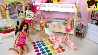 Barbie Rutina de Noche Pijamada de Hermanas - Habitacion con Literas de Muñecas