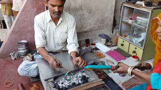 Lacquer Bangle Maker In Churu Town Of Rajasthan, India