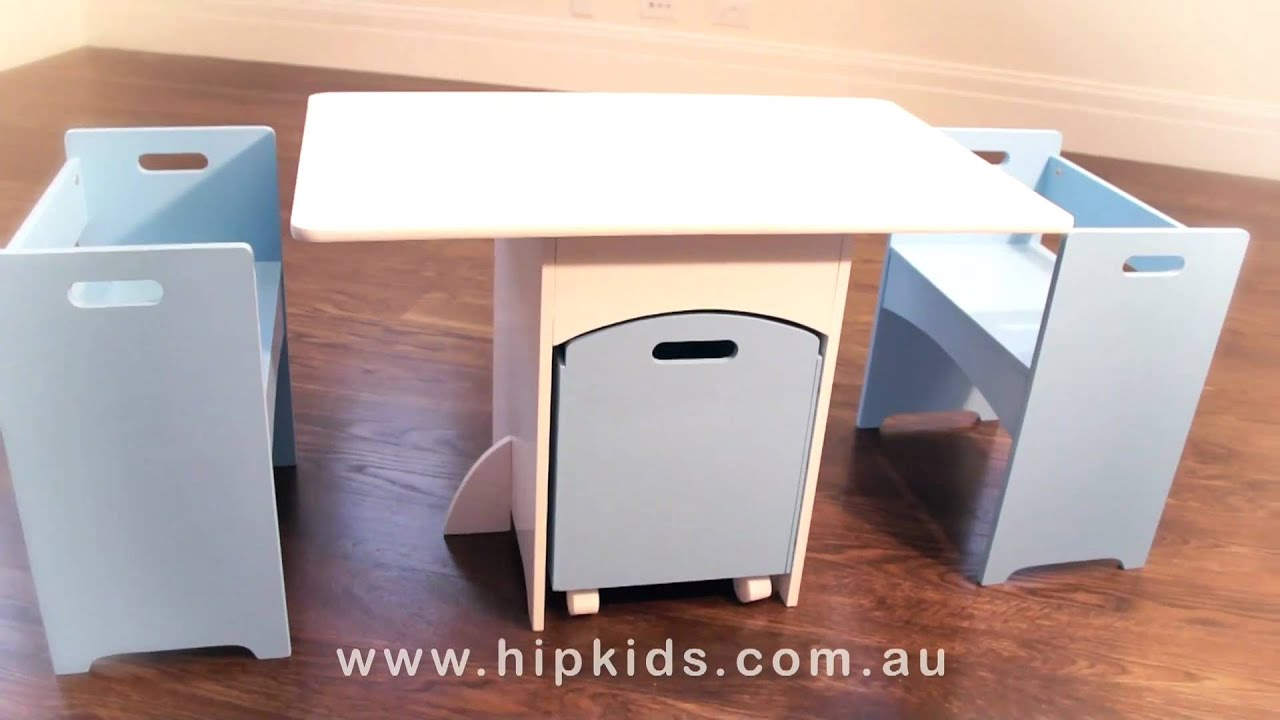 Hip Kids Table and Chairs Set w Toy Storage Box