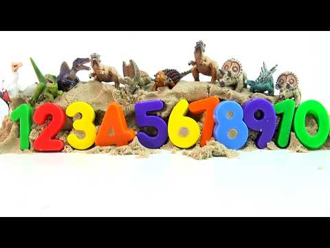 Learn to count to 10 Schleich Mini Dinosaurs - Counting in English - 10 Dinosaurs buried in sand