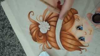 Pintando cabelo e aprendendo sobre tintas que se usa nesta pintura
