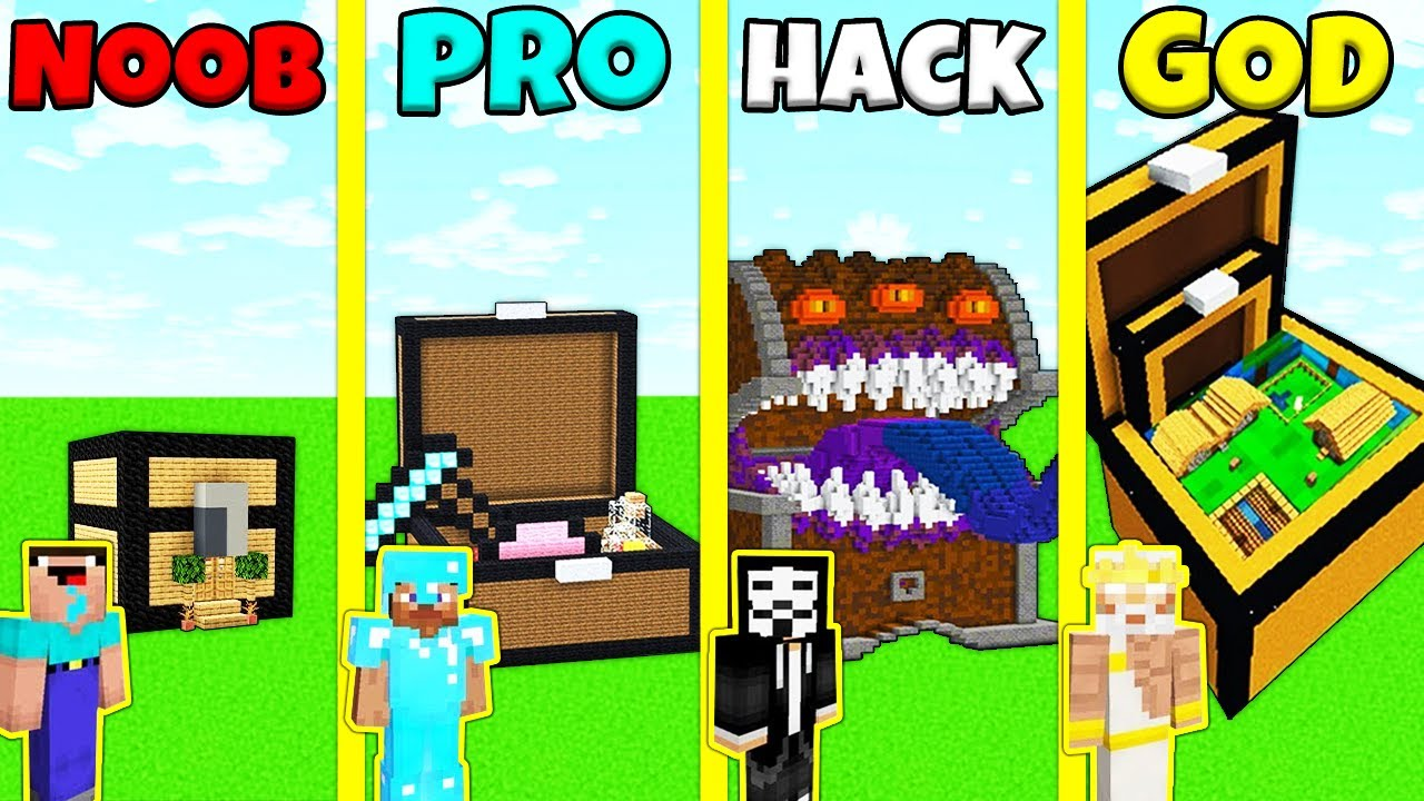 Minecraft Battle: NOOB vs PRO vs HACKER vs GOD: INSIDE CHEST HOUSE BUILD CHALLENGE / Animation