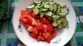 Салат из морского коктейля со свежими овощами