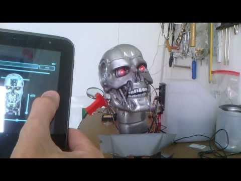 Internet Of Things : Animatronics Terminator Head controled by android