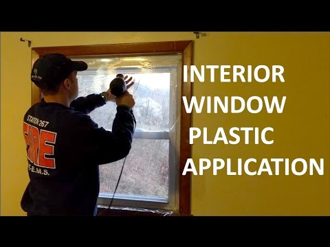 Interior Window Insulating Plastic Application - Keep Your Blinds Functional!