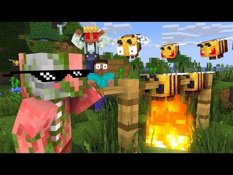 MONSTER SCHOOL VISITING BEES FARM - Minecraft Animation