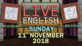 Live English Language Lesson - 11th November 2018 - Autumn - Bird Words + Phrases - Interactive Chat