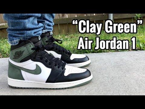 "innovative design f8c59 0dc4d Air Jordan 1 ""Clay Green"" on feet"
