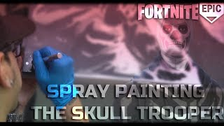 Spray Painting The Fortnite Skull Trooper in Real Life!