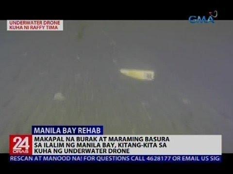 24 Oras: Makapal na burak at maraming basura sa Manila Bay, kitang-kita sa kuha ng underwater drone