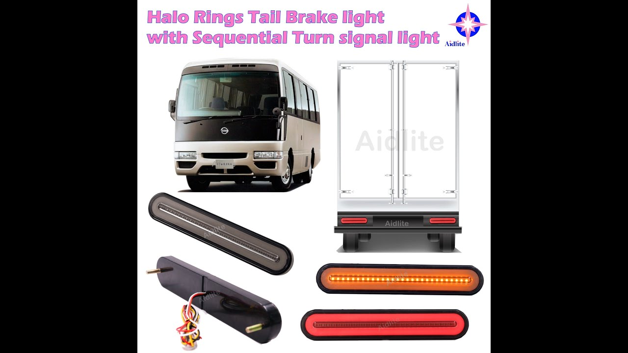 Trailer Truck Halo Rings Tail Brake w/ Sequential Turn signal lights