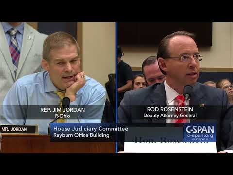 Full exchange between Rep. Jim Jordan and Deputy Attorney General Rod Rosenstein (C-SPAN)